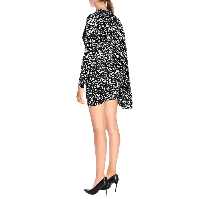Dress Balenciaga: Balenciaga high-neck dress in velvet with all-over print and wide sleeves black 3