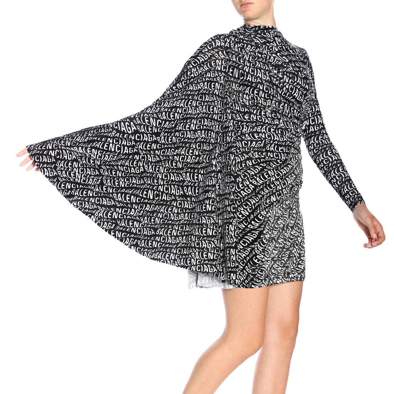 Dress Balenciaga: Balenciaga high-neck dress in velvet with all-over print and wide sleeves black 4