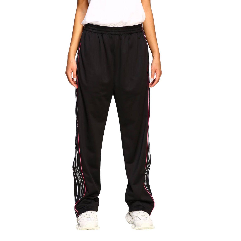 Pantalone Balenciaga in stile jogging con bande logate nero 1