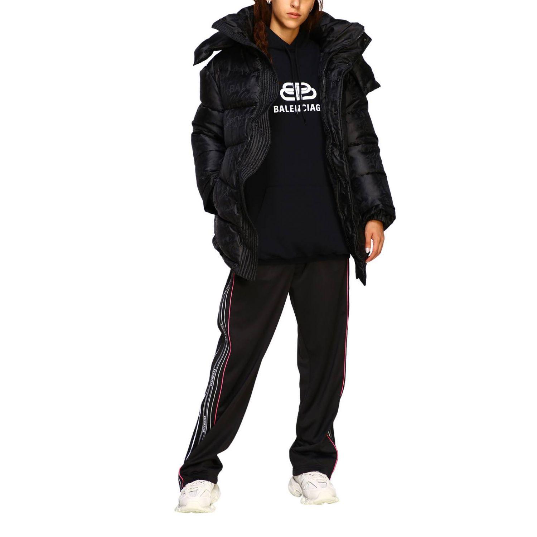 Pantalone Balenciaga in stile jogging con bande logate nero 2