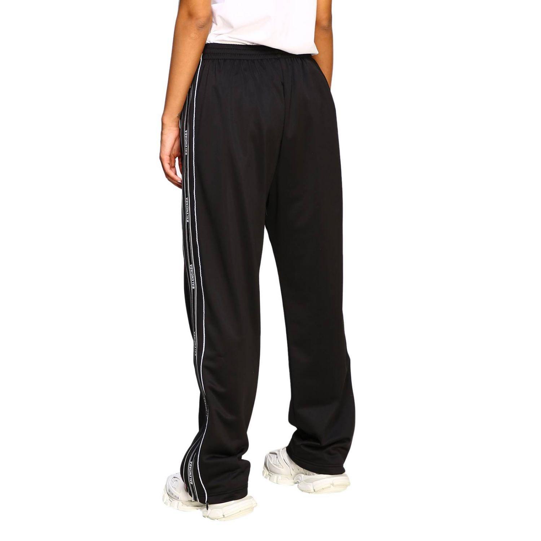 Pantalone Balenciaga in stile jogging con bande logate nero 3