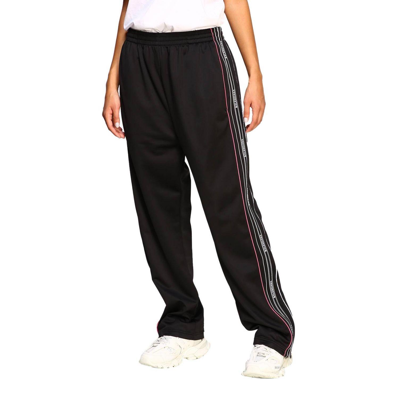 Pantalone Balenciaga in stile jogging con bande logate nero 4