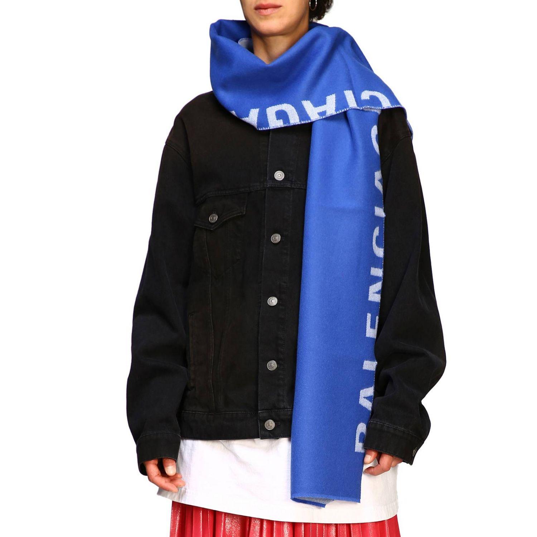 Sciarpa Balenciaga in lana con maxi logo in jacquard royal 1