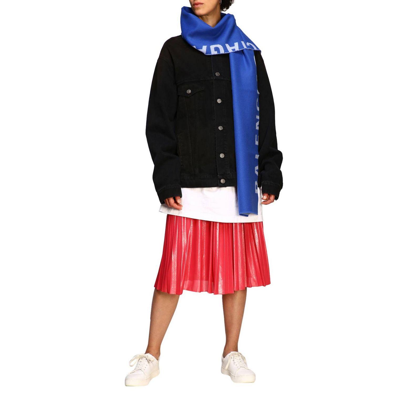 Sciarpa Balenciaga in lana con maxi logo in jacquard royal 2