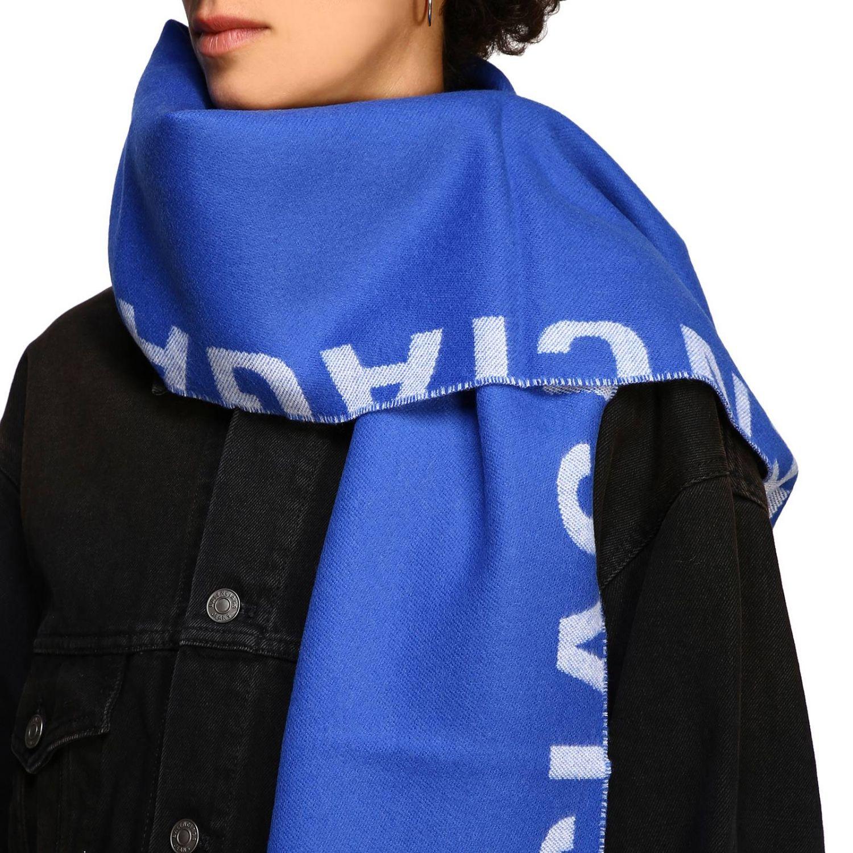 Sciarpa Balenciaga in lana con maxi logo in jacquard royal 3