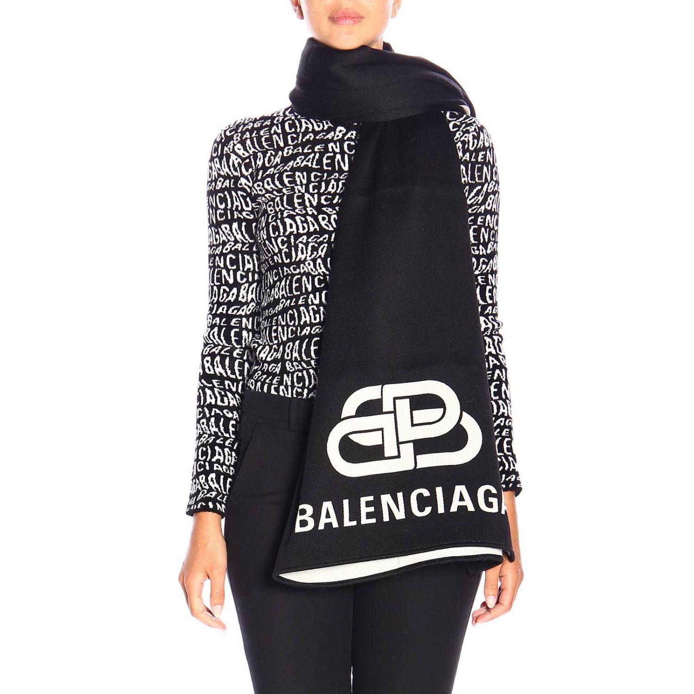Sciarpa Balenciaga in lana con maxi logo BB in jacquard nero 1