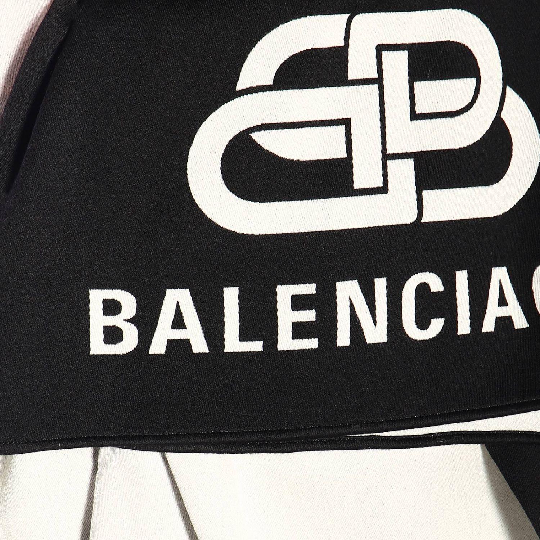 Sciarpa Balenciaga in lana con maxi logo BB in jacquard nero 3