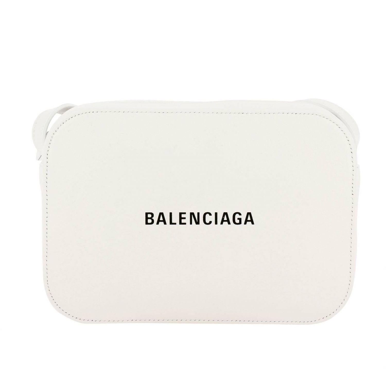 Borsa Everyday camera bag S in pelle con stampa Balenciaga bianco 1