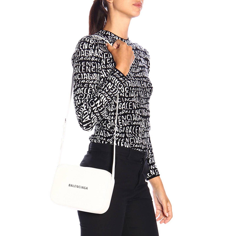 Borsa Everyday camera bag S in pelle con stampa Balenciaga bianco 2