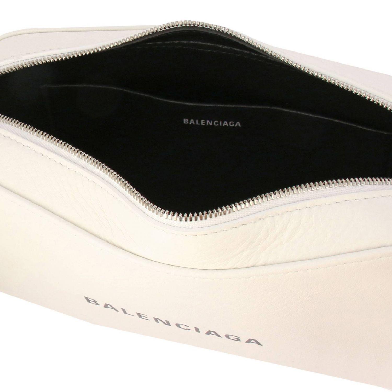 Borsa Everyday camera bag S in pelle con stampa Balenciaga bianco 5