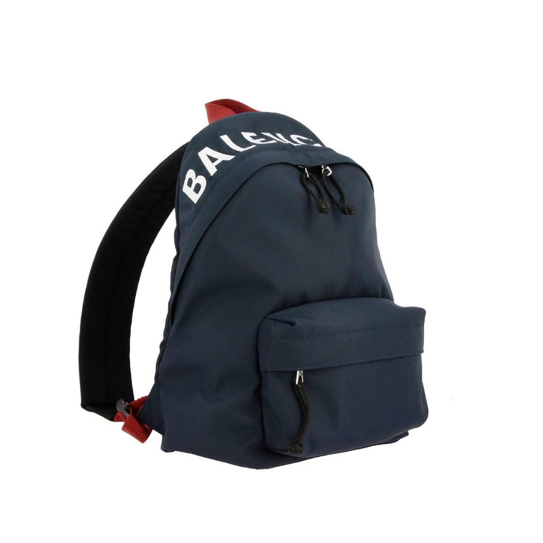 Рюкзак Wheel Balenciaga из нейлона с логотипом синий 3