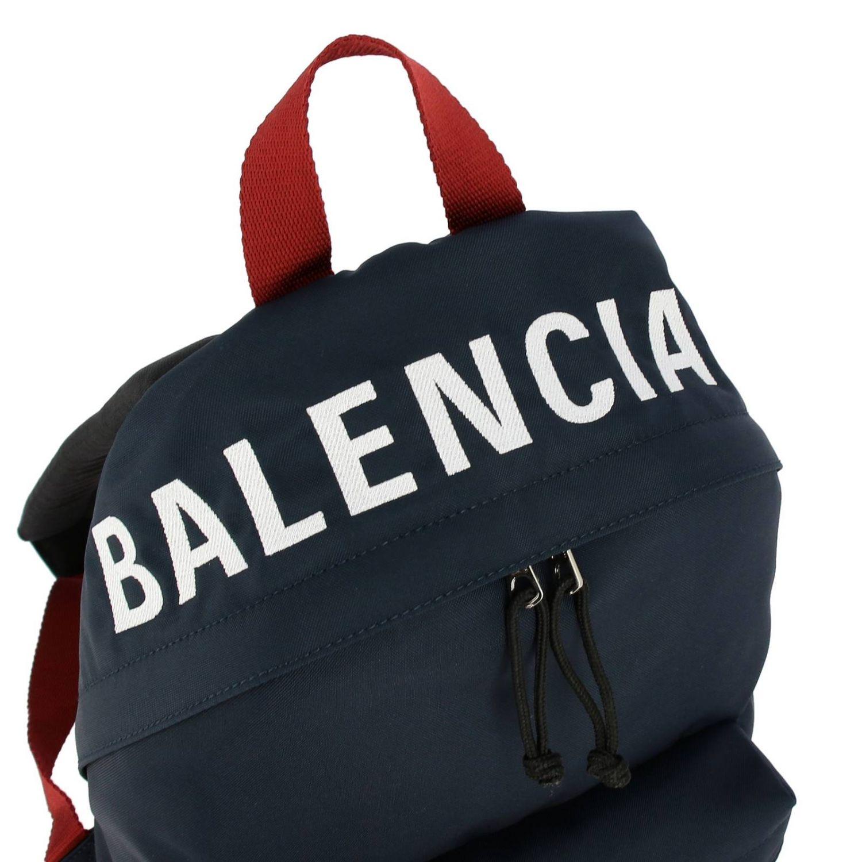 Рюкзак Wheel Balenciaga из нейлона с логотипом синий 5