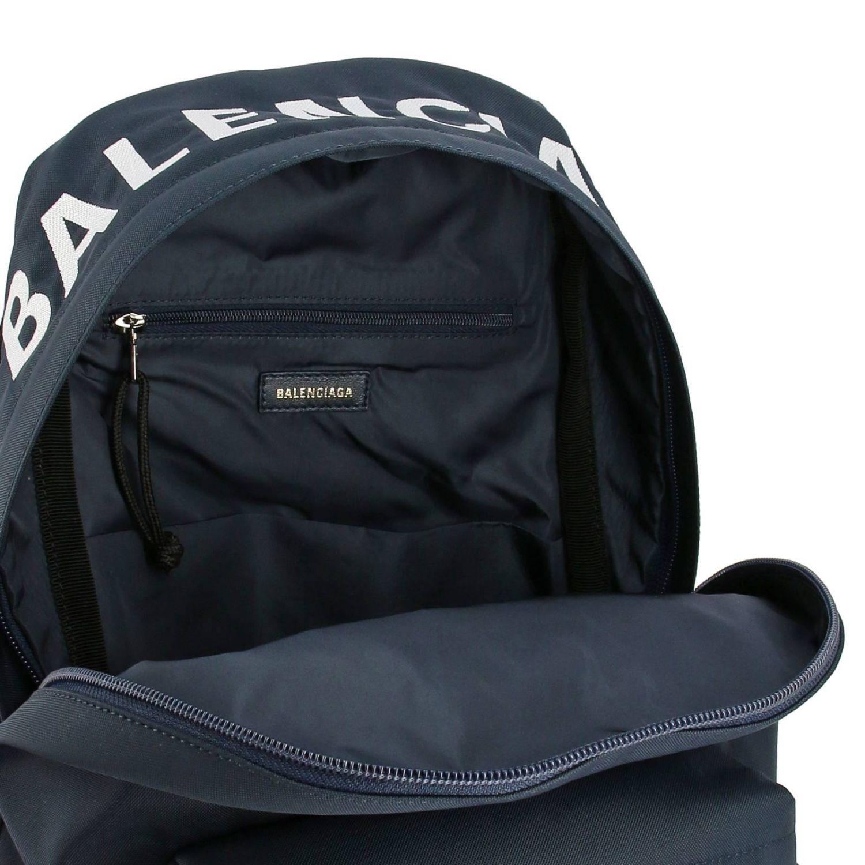 Рюкзак Wheel Balenciaga из нейлона с логотипом синий 6