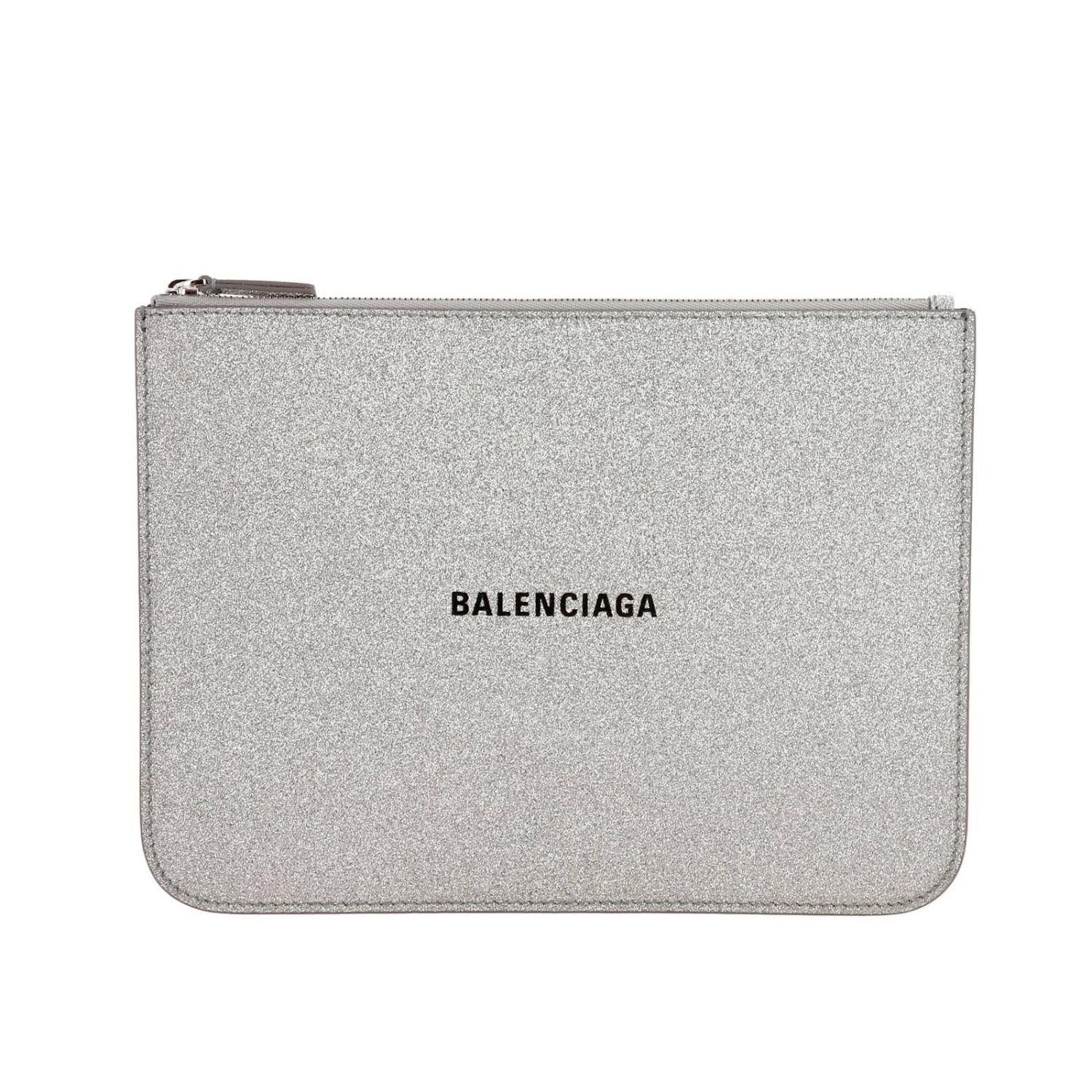 Everyday medium clutch with zip in glitter fabric with Balenciaga print silver 1