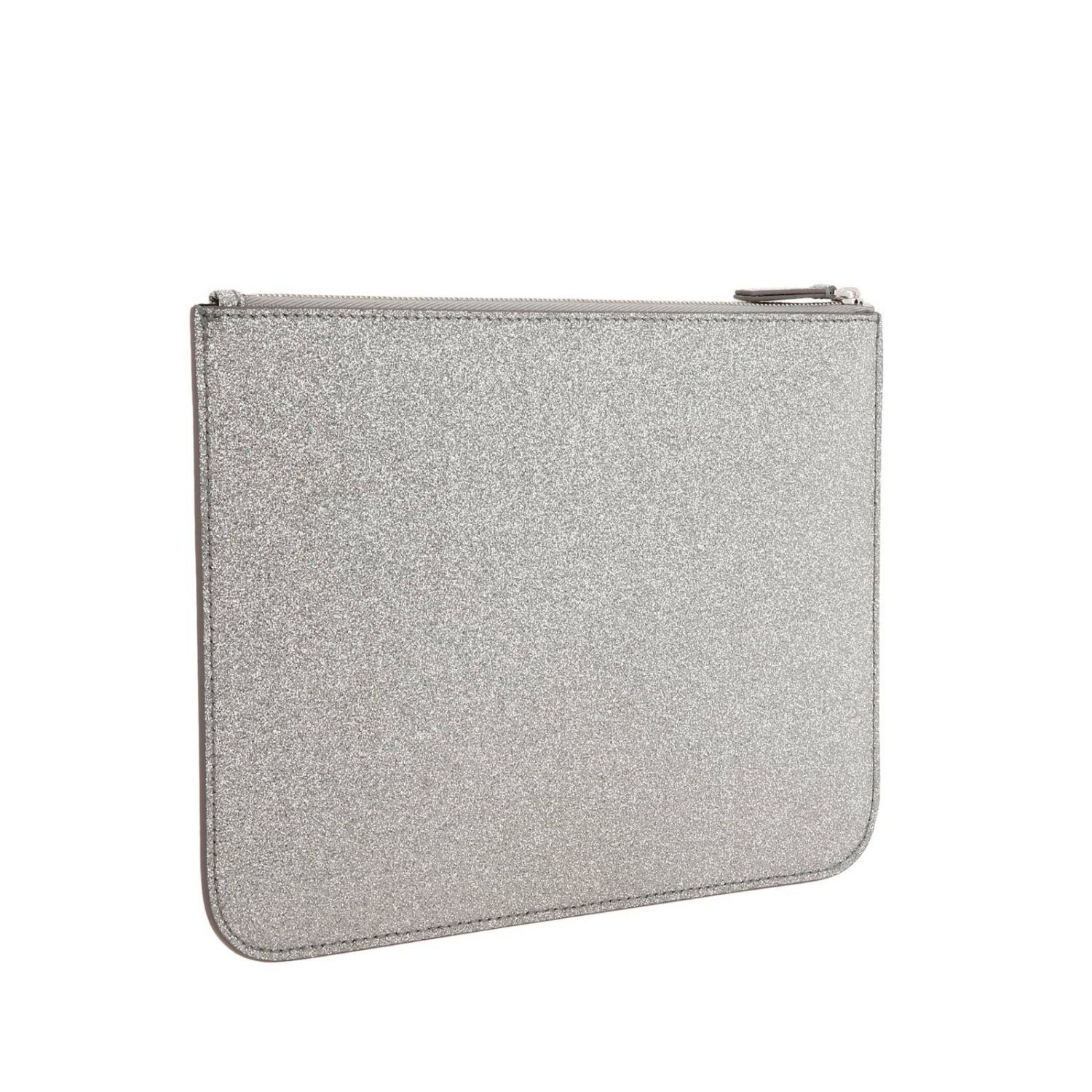 Everyday medium clutch with zip in glitter fabric with Balenciaga print silver 3