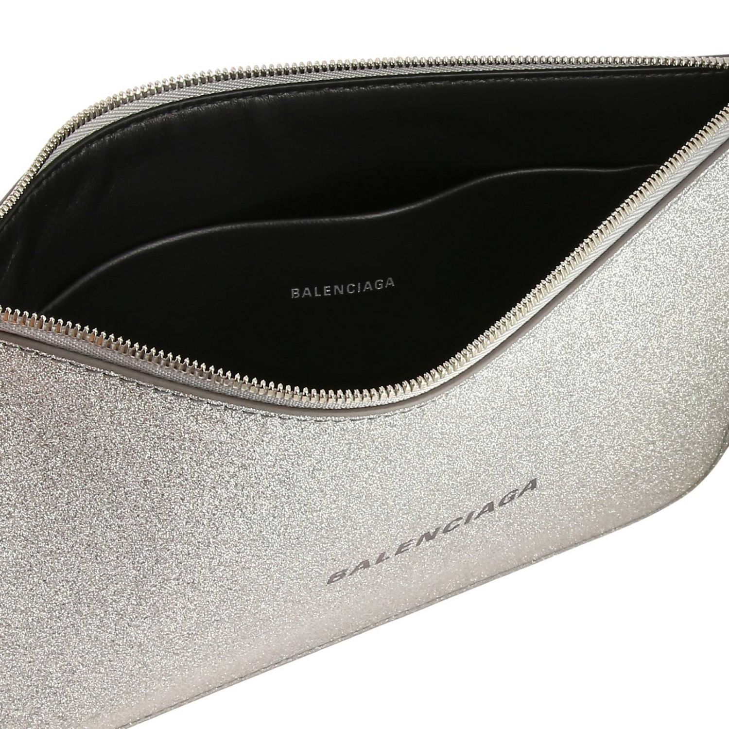 Everyday medium clutch with zip in glitter fabric with Balenciaga print silver 5