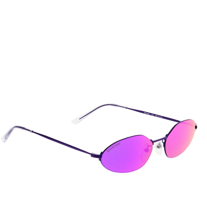 Invisible Balenciaga oval sunglasses in metal violet 1
