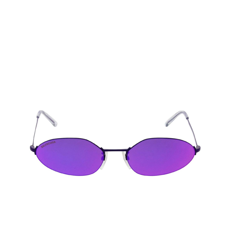 Invisible Balenciaga oval sunglasses in metal violet 2
