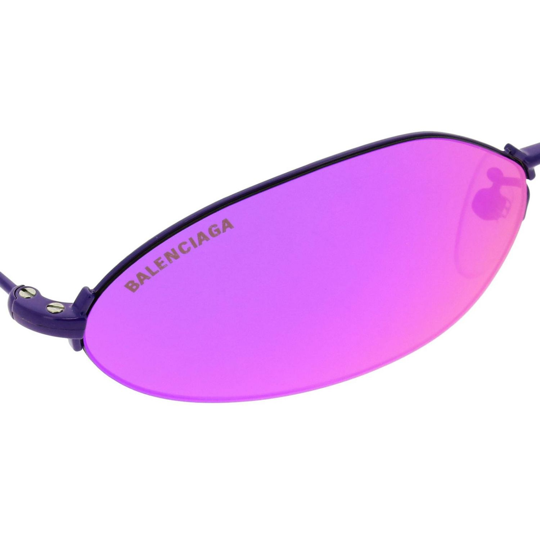 Invisible Balenciaga oval sunglasses in metal violet 3