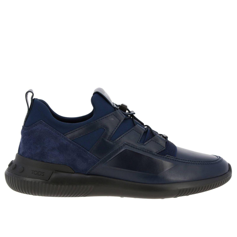 Sneakers Tods: Sneakers No code Active Sport Tod's in pelle camoscio e neoprene con lacci elasticizzati blue 1