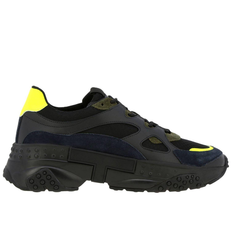 Sneakers Tod's en cuir et toile avec picots et détails fluos noir 1