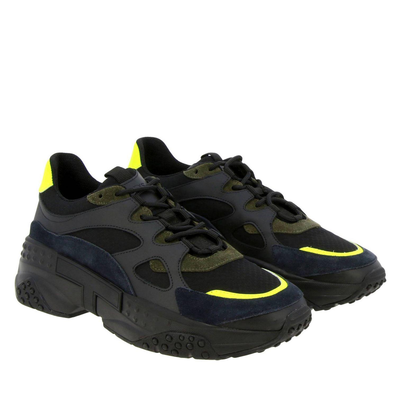 Sneakers Tod's en cuir et toile avec picots et détails fluos noir 2