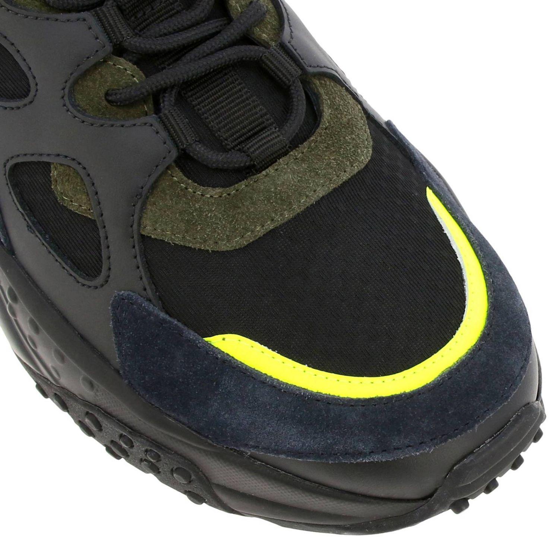 Sneakers Tod's en cuir et toile avec picots et détails fluos noir 3