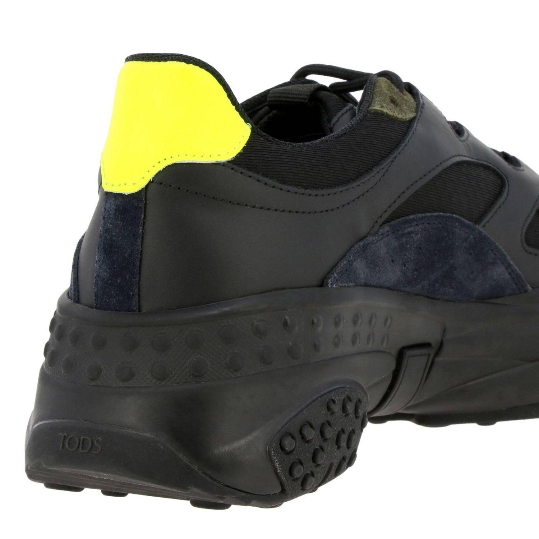 Sneakers Tod's en cuir et toile avec picots et détails fluos noir 4