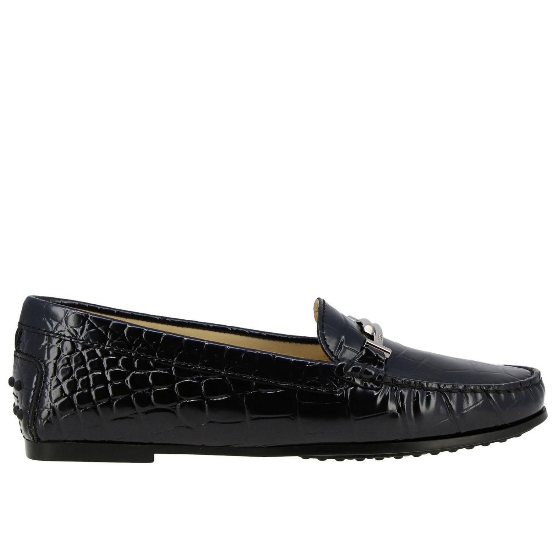 Mocassins City Double T Tod's en cuir impression crocodile noir 1