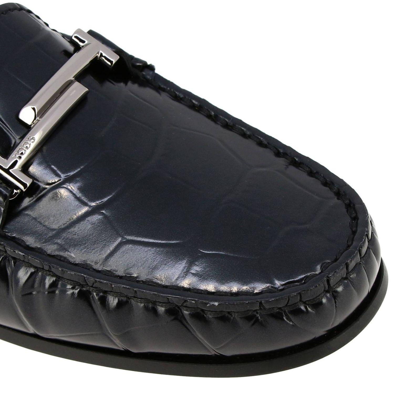 Mocassins City Double T Tod's en cuir impression crocodile noir 3