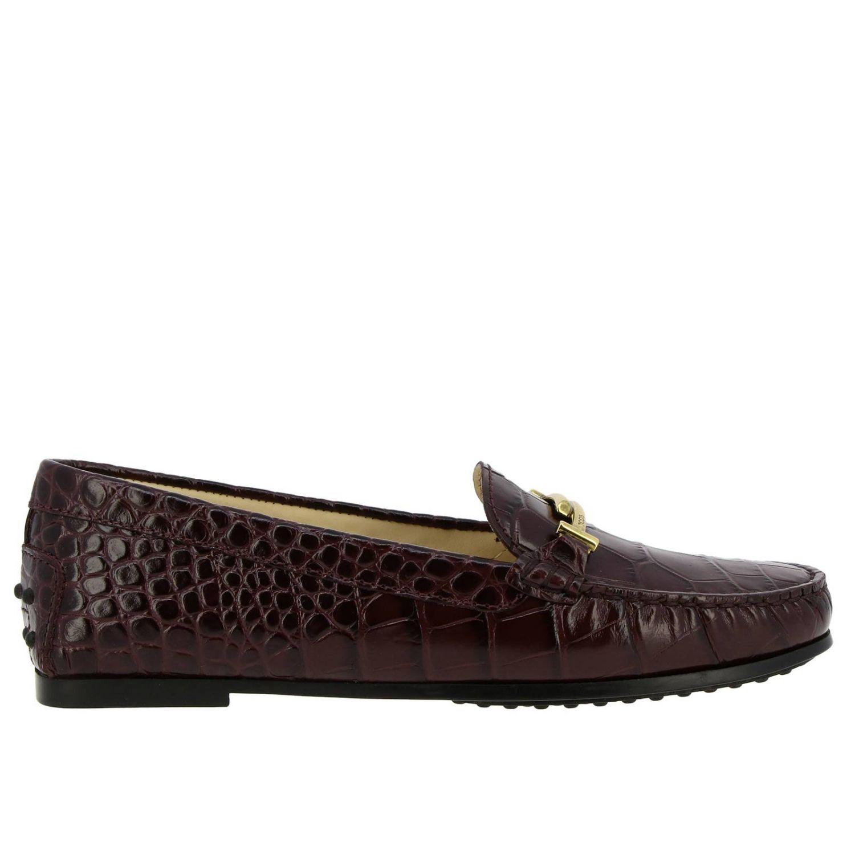 Mocassin City Double T en cuir imprimé crocodile avec picots Tod's bordeaux 1