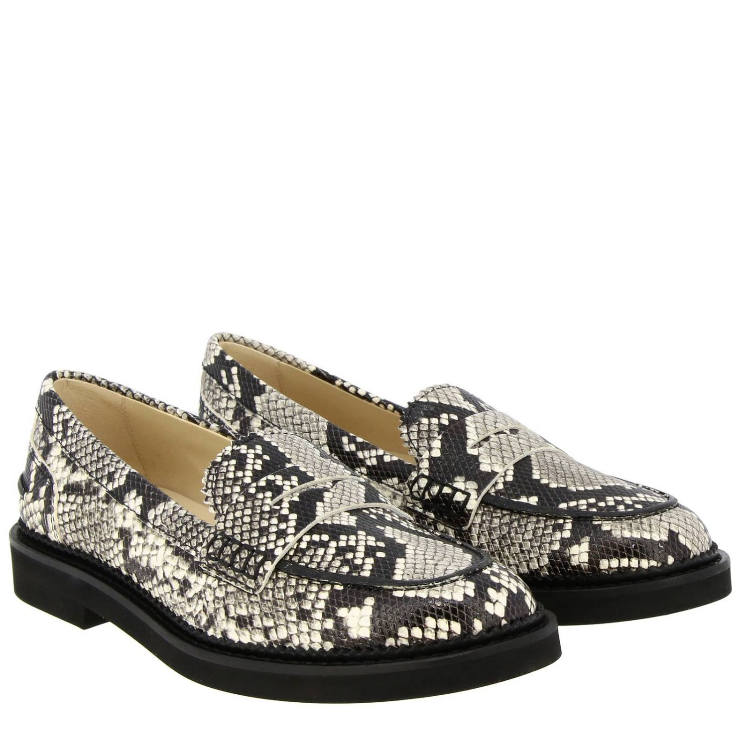 Loafers Tods: Tod's loafers in python-print leather with crossbar and rubber sole grey 2