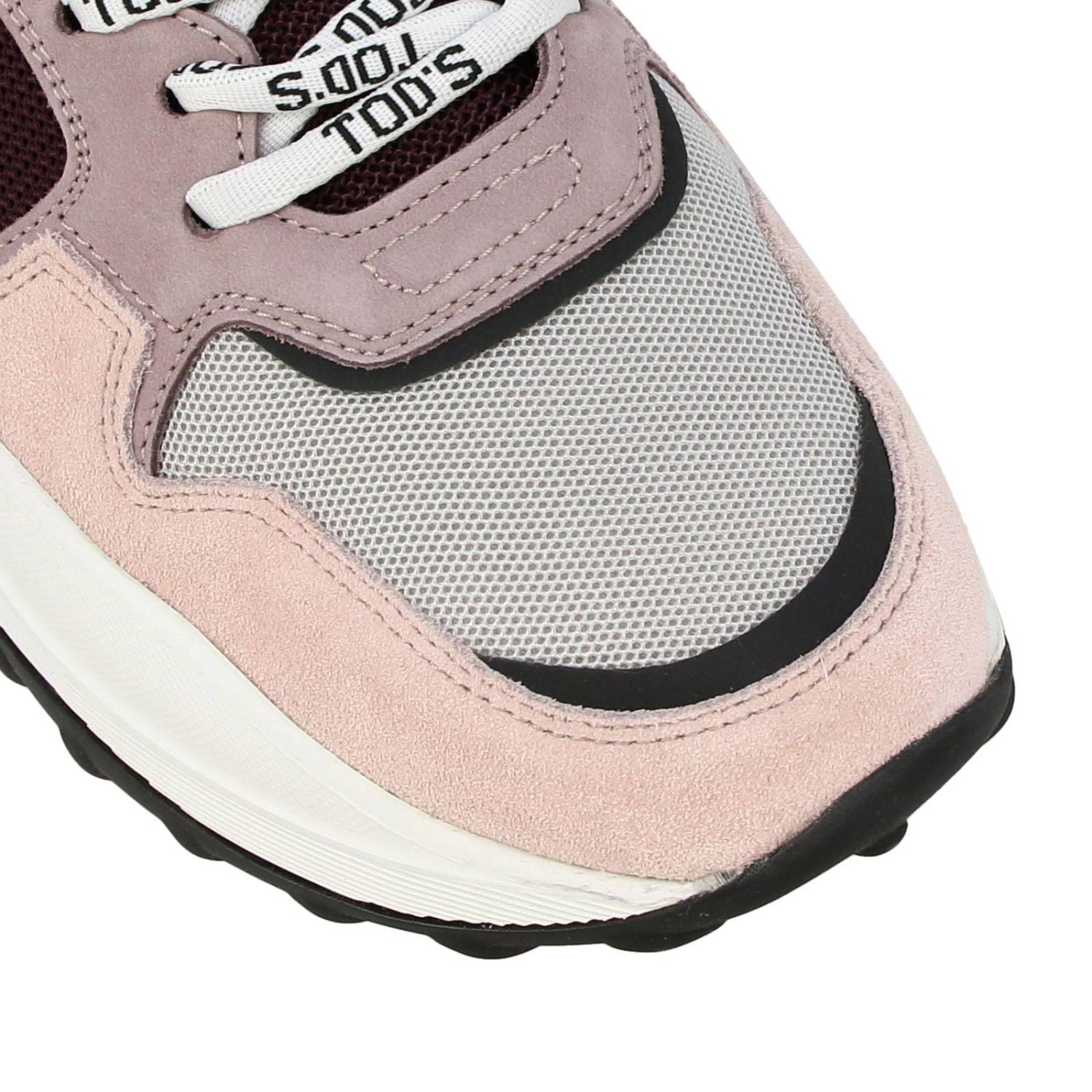 Tod's sneakers in suede leather and micro-net with gommini pink 3