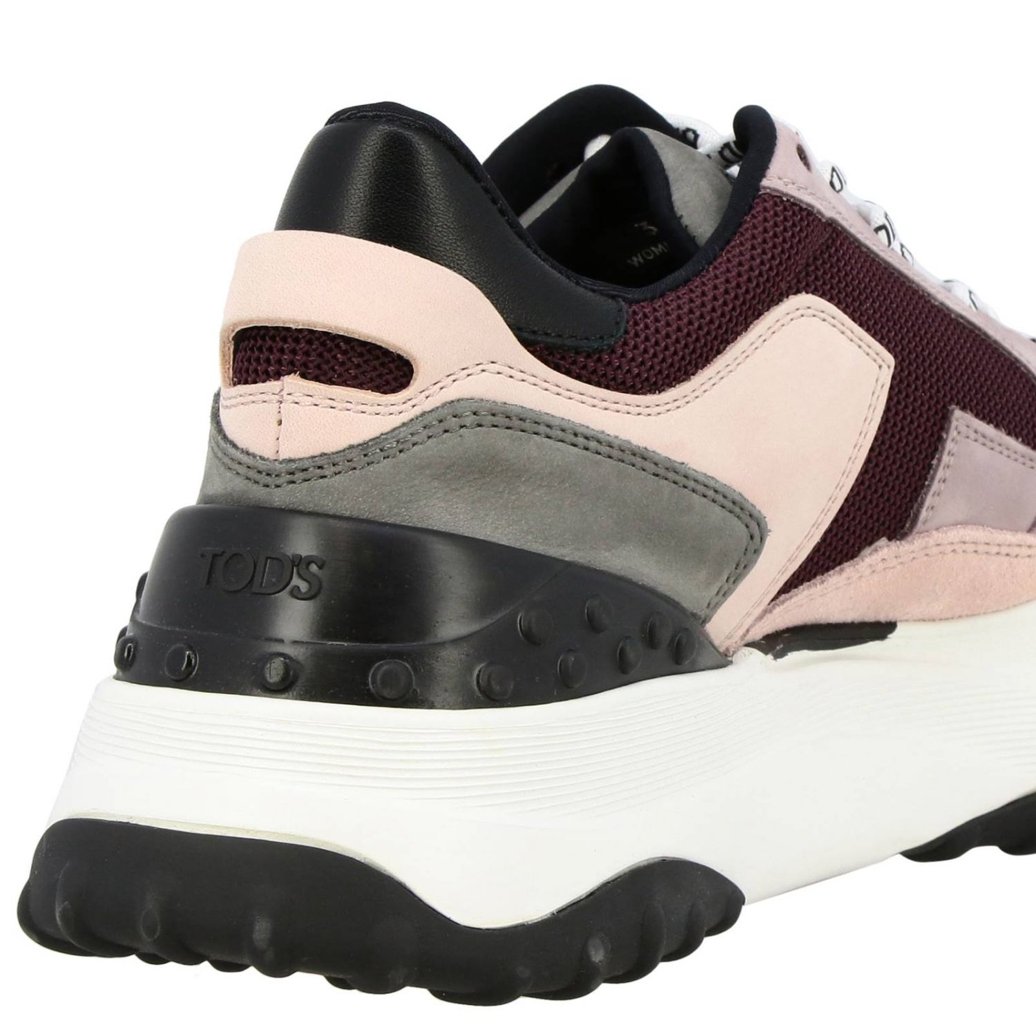 Tod's sneakers in suede leather and micro-net with gommini pink 4