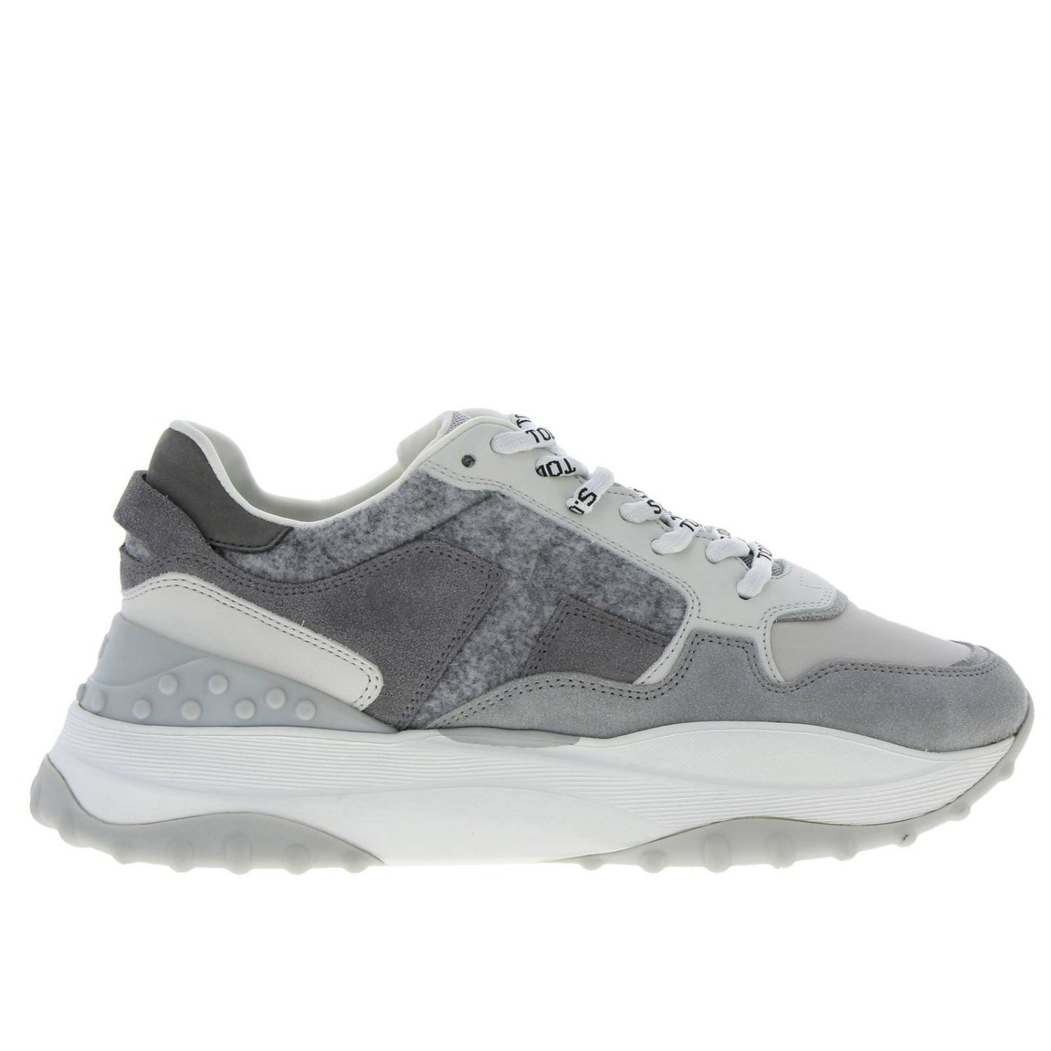 Tod's Sport sneakers in smooth suede and wool with maxi rubber sole grey 1
