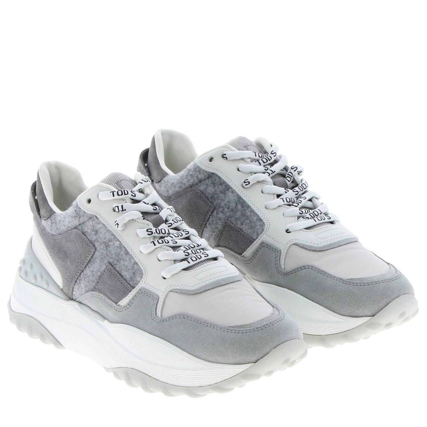 Tod's Sport sneakers in smooth suede and wool with maxi rubber sole grey 2