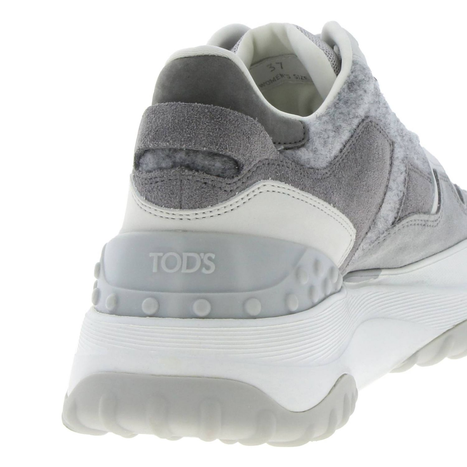 Tod's Sport sneakers in smooth suede and wool with maxi rubber sole grey 4