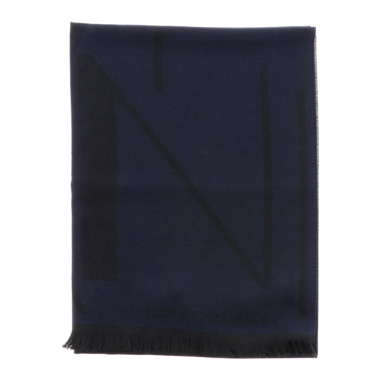 Scarf Emporio Armani: Emporio Armani scarf in basic blended wool with logo blue 1