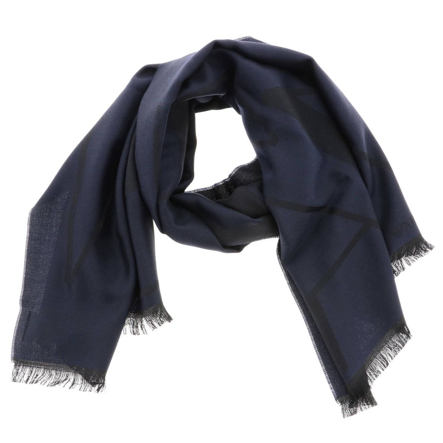 Scarf Emporio Armani: Emporio Armani scarf in basic blended wool with logo blue 2