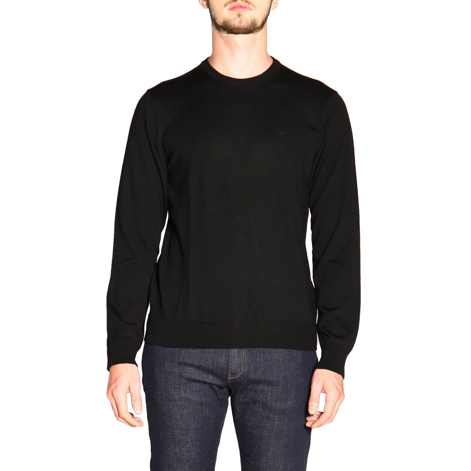 Emporio Armani long-sleeved crew neck sweater in wool black 1