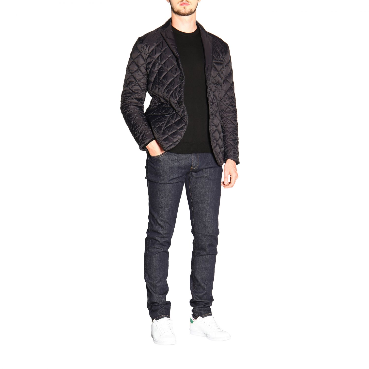 Emporio Armani long-sleeved crew neck sweater in wool black 2