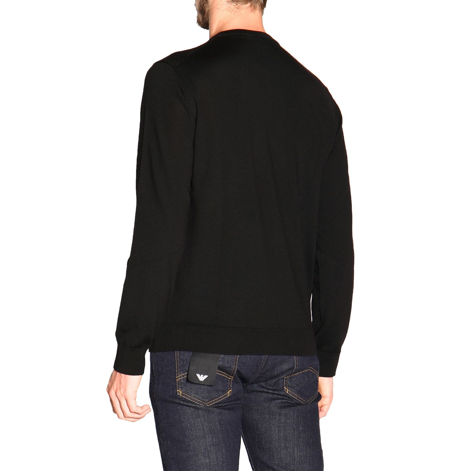 Emporio Armani long-sleeved crew neck sweater in wool black 3