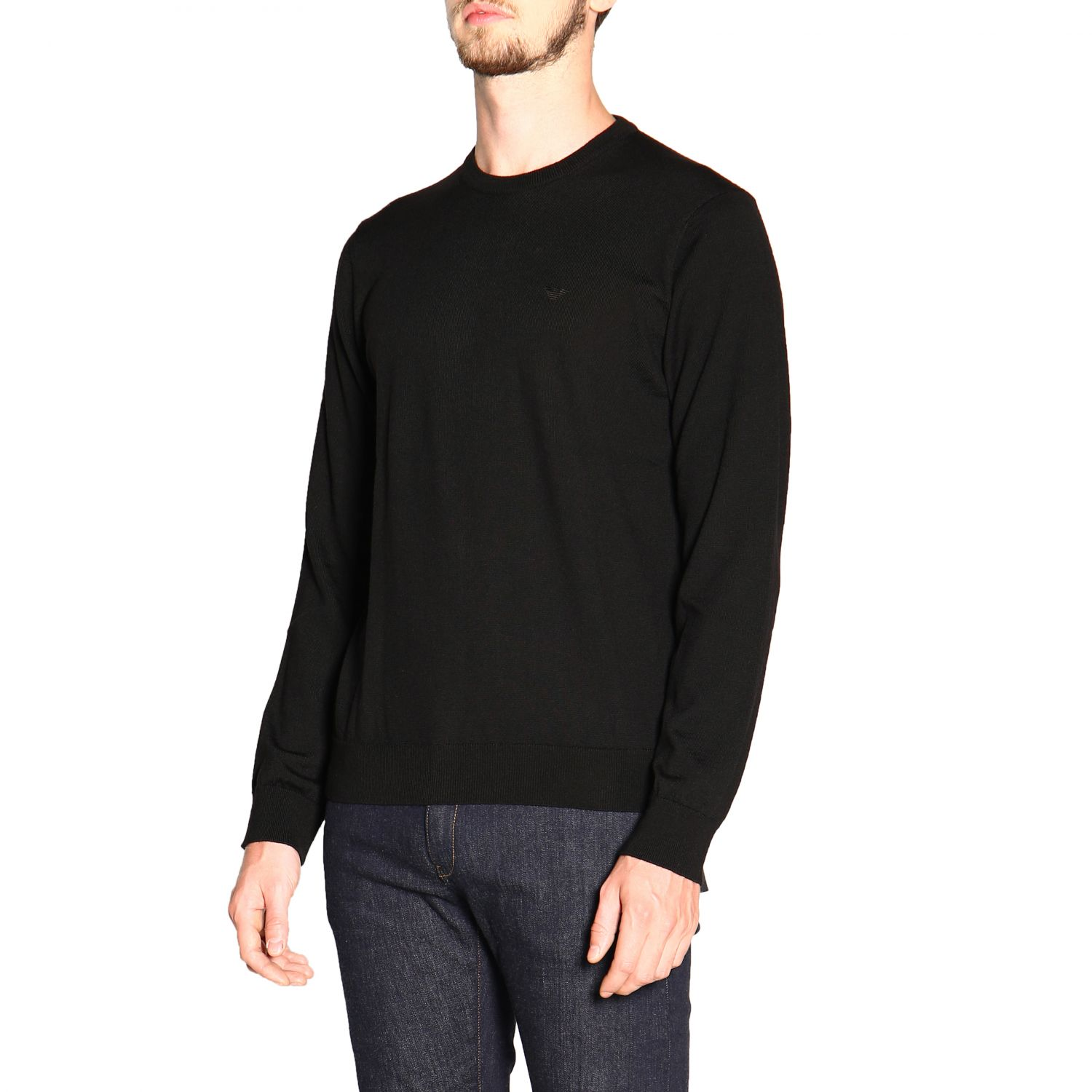 Emporio Armani long-sleeved crew neck sweater in wool black 4