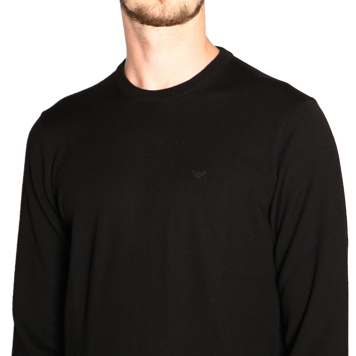 Emporio Armani long-sleeved crew neck sweater in wool black 5