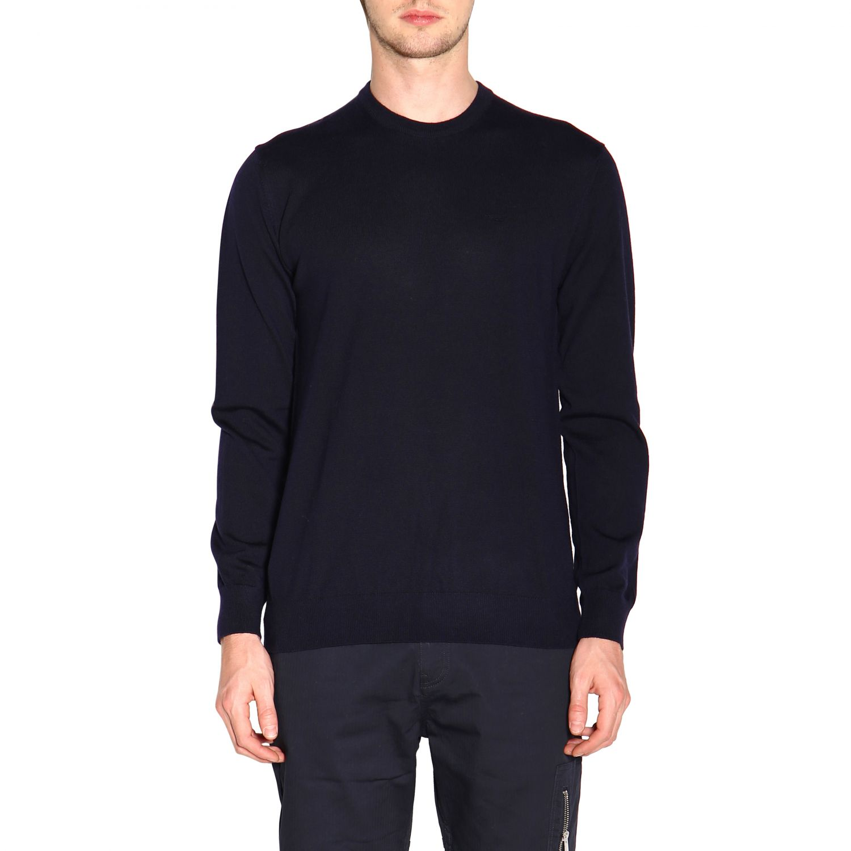 Emporio Armani 基本款长袖圆领羊毛毛衣 蓝色 1