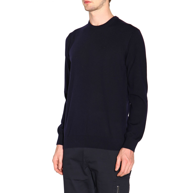 Emporio Armani 基本款长袖圆领羊毛毛衣 蓝色 3