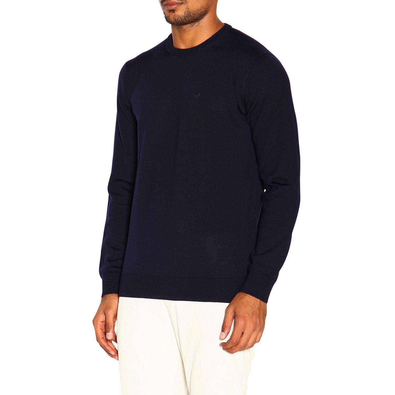 Emporio Armani 基本款长袖圆领羊毛毛衣 蓝色 4