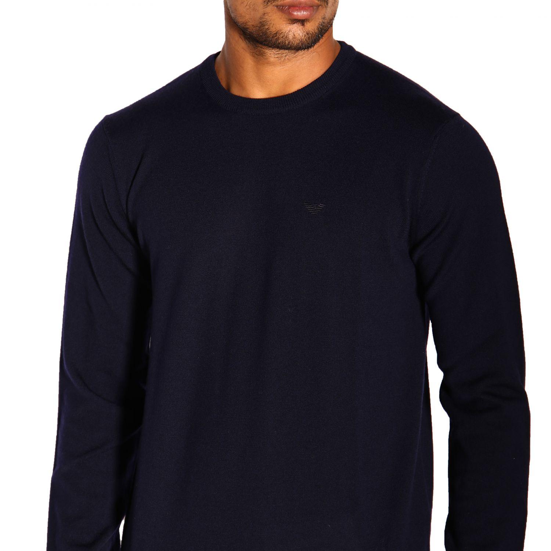 Emporio Armani 基本款长袖圆领羊毛毛衣 蓝色 5
