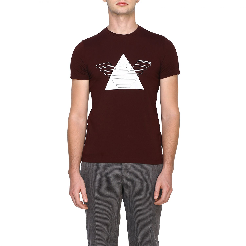 T-Shirt Emporio Armani: Emporio Armani T-Shirt mit Maxi-Print burgunderrot 1