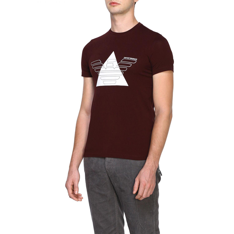 T-Shirt Emporio Armani: Emporio Armani T-Shirt mit Maxi-Print burgunderrot 4